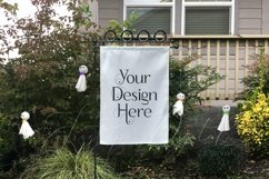 Yard Flag Mockups for Halloween, White & Burlap Flag Mock-Up Product Image 4
