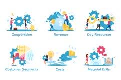Business model flat vector illustrations set Product Image 1