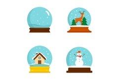 Snow globe ball christmas icons set, flat style Product Image 1
