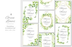 Green leaves wedding invitations set Product Image 1