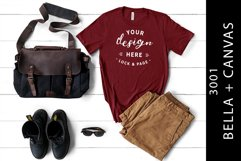 Men's Cardinal Bella Canvas 3001 Mockup T-Shirt Product Image 1