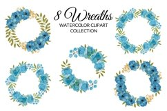 Blue Peony Flower Watercolor Clipart Collection Product Image 4