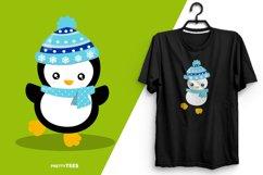 Baby Penguin Blue Scarf T-Shirt Design | Sublimation T-Shirt Product Image 6