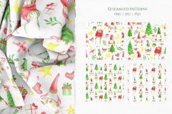Christmas Gnomes Watercolor seamless patterns. Digital paper Product Image 2