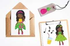 African American girls pineapple party graphics - vectors Product Image 3