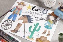 Cowboy Kids Watercolor Clipart Product Image 5