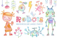 Watercolor Robots Party Product Image 1