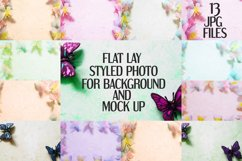 Butterfly on marble background photo   Flat mock up bundle Product Image 1