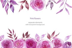 Watercolor pink flowers Product Image 4