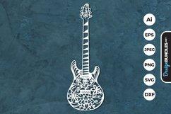 Floral Guitar Papercut SVG Product Image 1