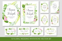 Floral wedding invitations vector set Product Image 1