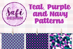 Digital Paper Backgrounds - Teal, Purple and Navy Patterns Product Image 2