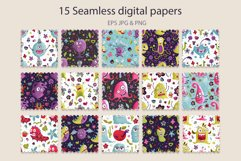 Cute Monster Seamless Pattern Set. Product Image 2
