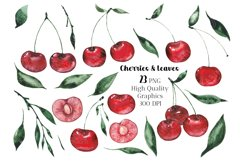 Kitchen clipart, Food clipart, Watercolor Cherry clipart png Product Image 2