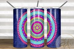Denim and Mandala Skinny Tumbler Sublimation /Pink and Blue Product Image 1
