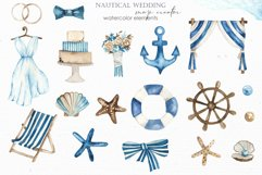 Nautical wedding map creator Watercolor clipart Product Image 2