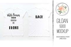White GILDAN 5000 Shirt Mockup Back and Front Product Image 1