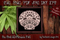 3D SVG Mandala Sea Shell 4 Layers Cutting File Sublimation Product Image 1