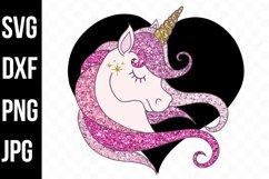 Black and Blush Pink Glitter Unicorn - svg, png, dxf, jpg Product Image 1