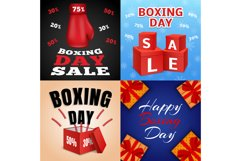 Happy boxing day banner set, realistic style Product Image 1