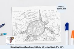 A Turtle and Sea Animal Ocean Coloring Page Product Image 1