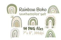 Neutral Rainbow Boho Watercolor Clipart Product Image 1