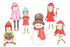 Cute Christmas Santa Girls Santa Girls Watercolor Product Image 1