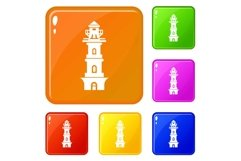 Coast lighthouse icons set vector color Product Image 1