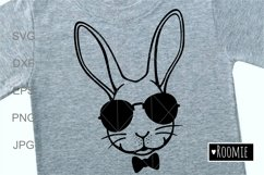 Rabbit face in sunglasses svg, Easter bunny Cut files Cricut Product Image 1