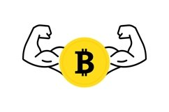 Dollar coin icon with flexing, strong muscles. Vector flat Product Image 1