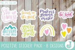 Positivity Sticker Pack, Quote Stickers, Print then Cut Product Image 1