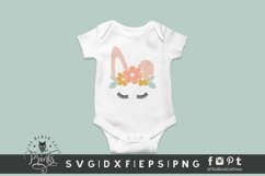 Easter Bunny Face SVG   Floral Crown Bunny   Bunny Ears SVG Product Image 2