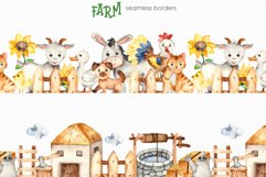 Farm Watercolor Clipart. Cards, frames, seamless patterns Product Image 7