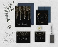 Gold Bokeh String Fairy Lights Overlays PNG Clipart Product Image 2