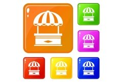 Table stall icons set vector color Product Image 1
