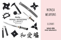 Ninja Weapons, Sword clipart, Throwing Star Graphics Product Image 1