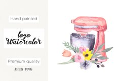 Watercolor logo bakery, mixer floral cooking clipart,kitchen Product Image 1