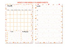 Undated monthly and weekly planner's sheets. Christmas theme Product Image 4