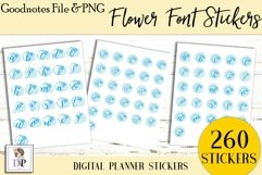 Flower Font Digital Printable Labels Stickers Goodnotes Product Image 3