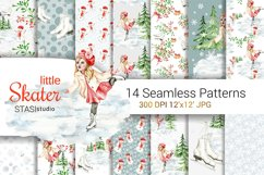 Little Skater Christmas Background Pattern Product Image 1