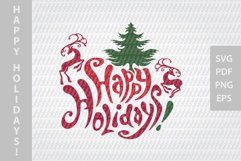 Happy Holidays SVG lettering, New Year festive design Product Image 2