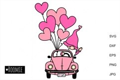 i love you SVG, Valentines heart truck Svg Gnomes Clipart, Product Image 1
