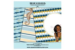 African American Mermaid Digital Paper Black Beautiful Product Image 2