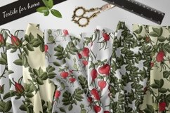 Design with buds, leaves and fruits of rose hip. Product Image 5