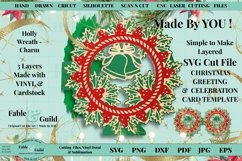 Layered Vintage Wreath SVG Christmas Card Decal 3D Cut File Product Image 1