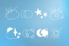 Skies - sun, moon and stars magic doodle font Product Image 5
