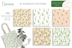 Narcissus Paper Pack. Watercolor Floral Seamless Patterns Product Image 3