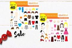 DIY paper dolls clip art illustrations bundle Product Image 3