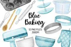 Blue Baking Equipment Watercolour Clipart Product Image 1