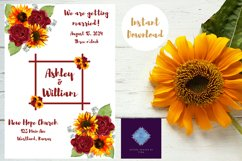 Sunflowers and Red Roses Wedding Invitation Product Image 3
